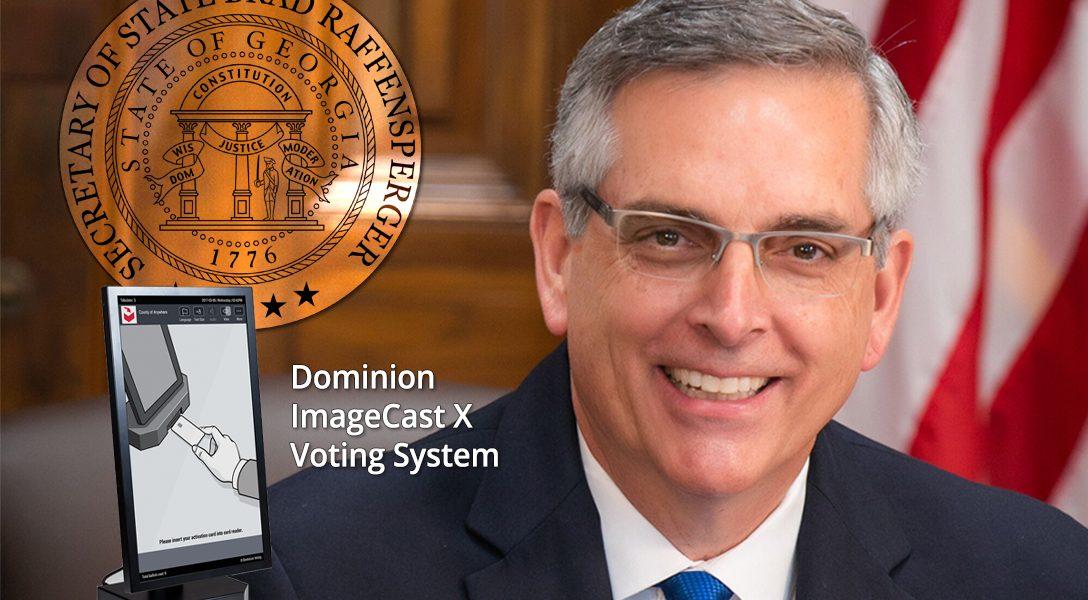 Georgia Secretary of State Brad Raffensperger. ImageCast X voting system screen.