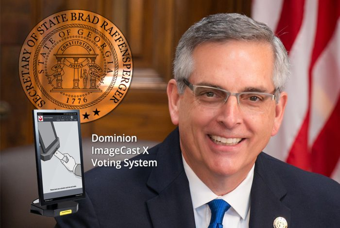 Georgia Secretary of State Brad Raffensperger. ImageCast X voting system screen.