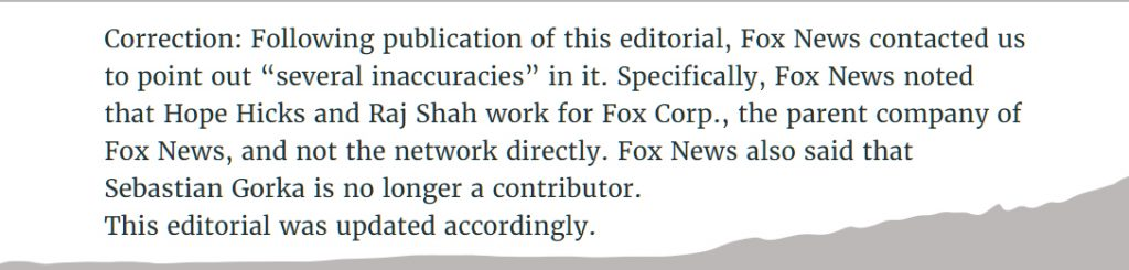 Fox News, correction