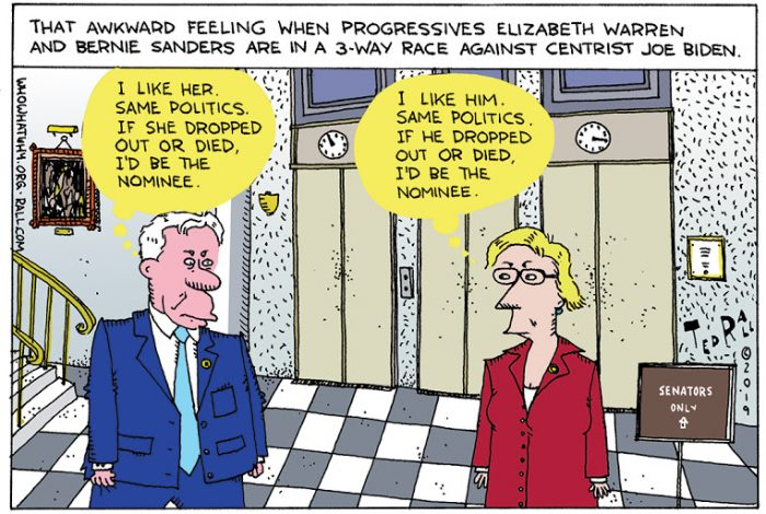 Ted Rall, cartoon, Bernie Sanders, Elizabeth Warren