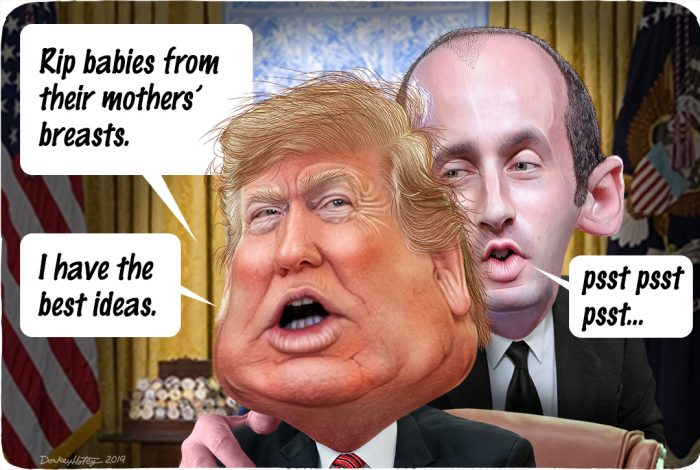 Image result for trump and miller cruelty cartoons