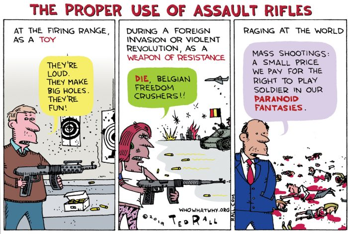 cartoon, Ted Rall, assault rifles