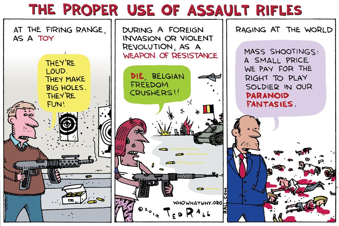 cartoon, Ted Rall, assault rifles