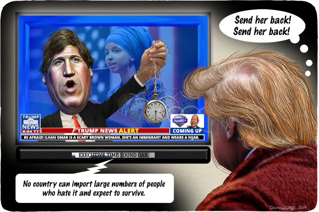 Donald Trump, Tucker Carlson, Ilhan Omar, Fox News