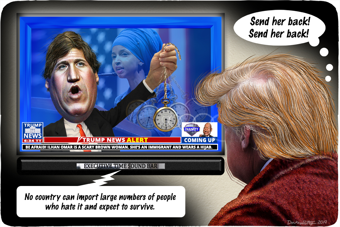 Donald Trump, Tucker Carlson, Ilhan Omar, Fox News
