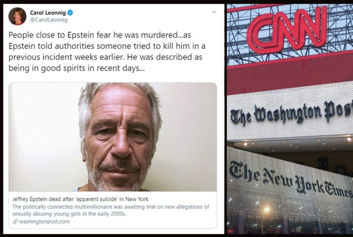 The Washington Post, New York Times, CNN, Jeffrey Epstein
