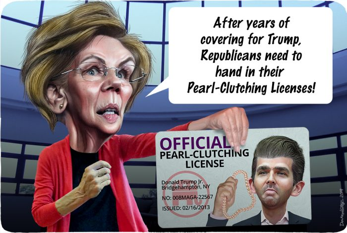 Elizabeth Warren, Don Jr., Donald Trump Jr., Pearl-Clutching License