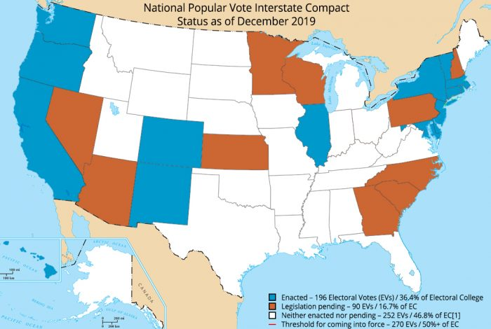 National Popular Vote Interstate Compact, map