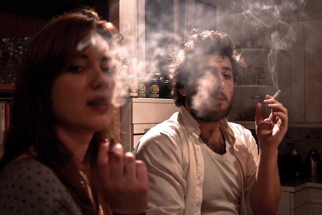 man, woman, smoking
