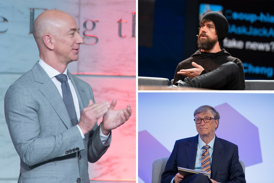 Jeff Bezos, Jack Dorsey, Bill Gates