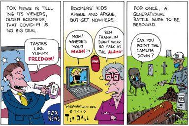 Ted Rall, cartoon, Fox News, COVID-19, Propaganda