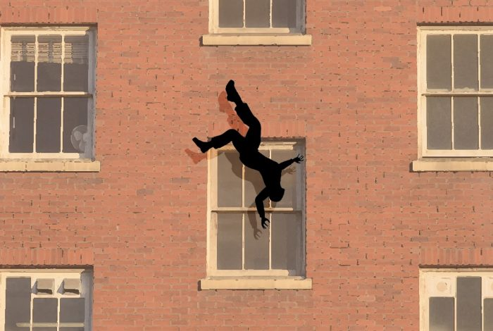 man falling from window