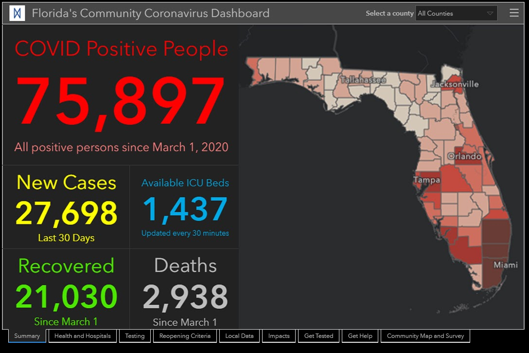 Florida's Community Coronavirus Dashboard