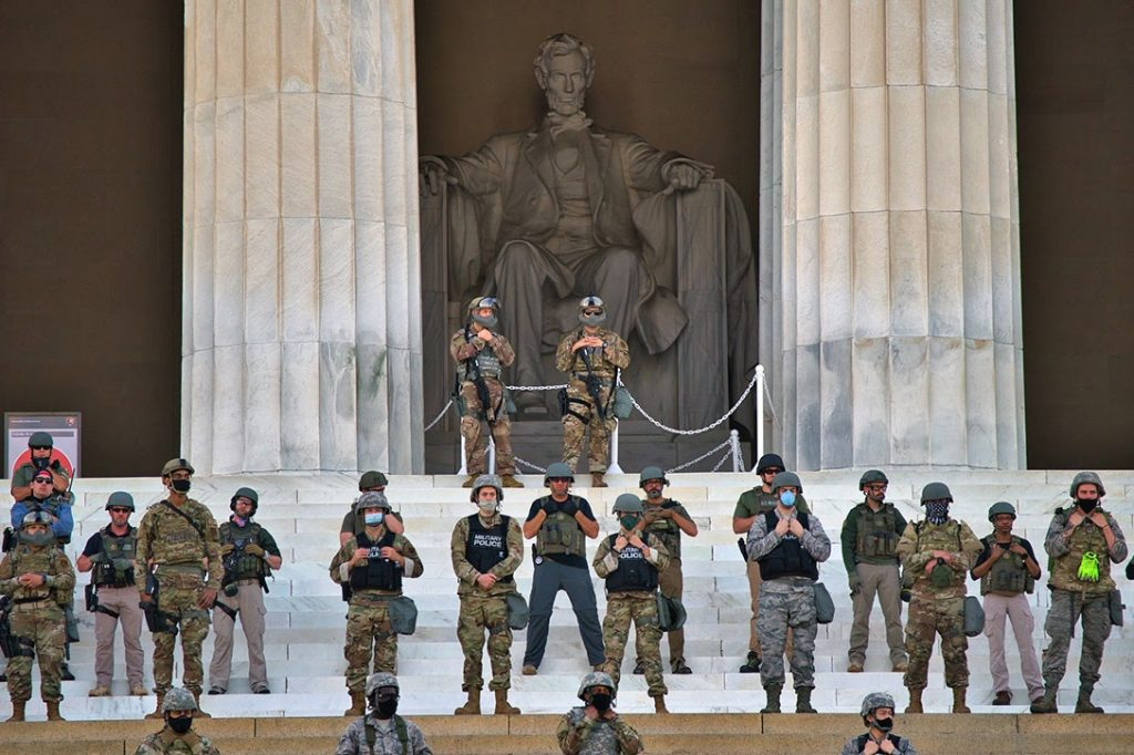 military police, Lincoln Memorial, George Floyd