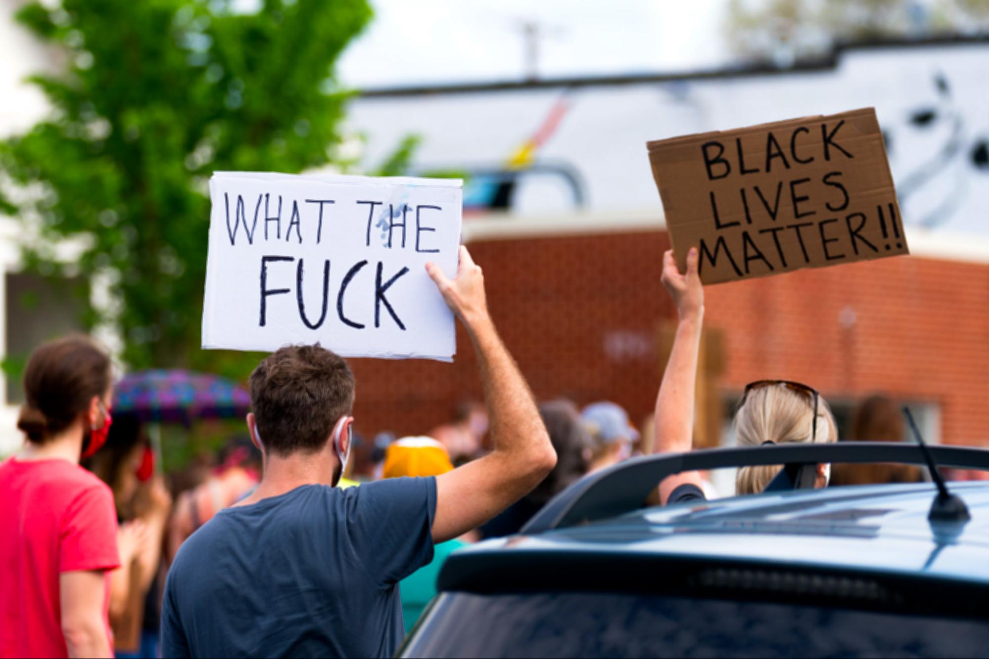 protest signs, George Floyd, Minneapolis, demonstration, WTF