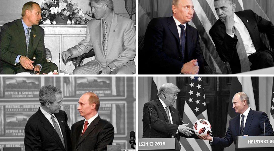Vladimir Putin, Bill Clinton, George W Bush, Barack Obama, Donald Trump