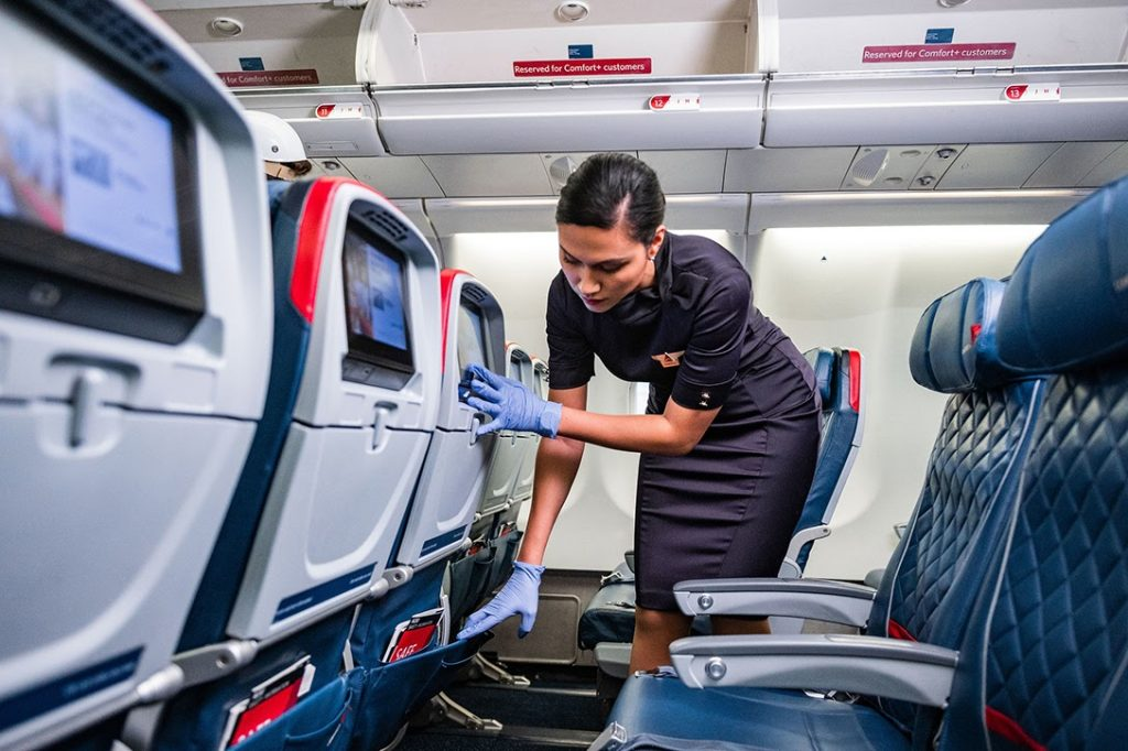 Flight Attendant, cleaning