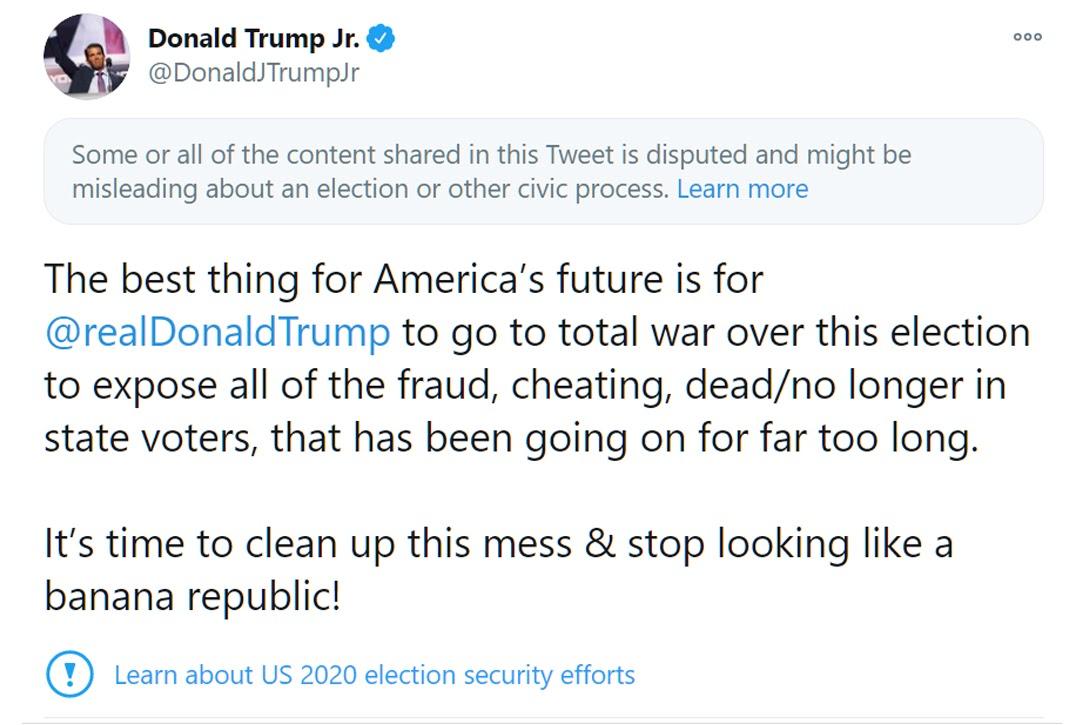Donald Trump Jr, tweet, war