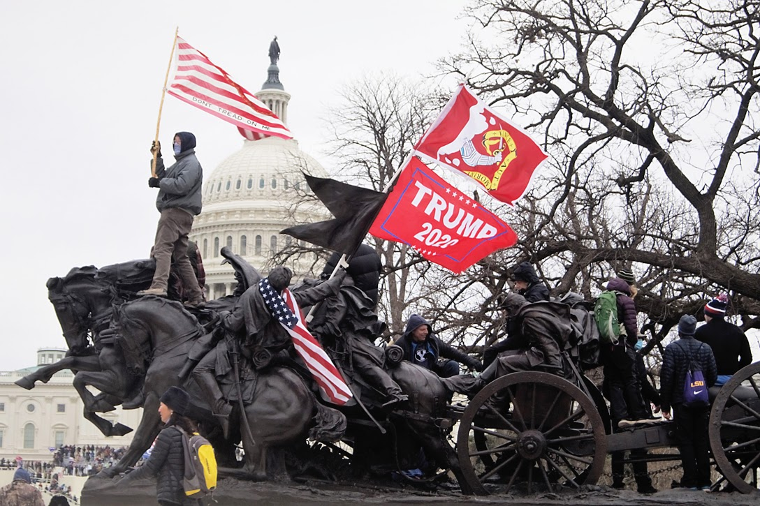 Pro-Trump Supporters Affix Flags onto the Artillery Group Statue at the Ulysses S. Grant Memorial