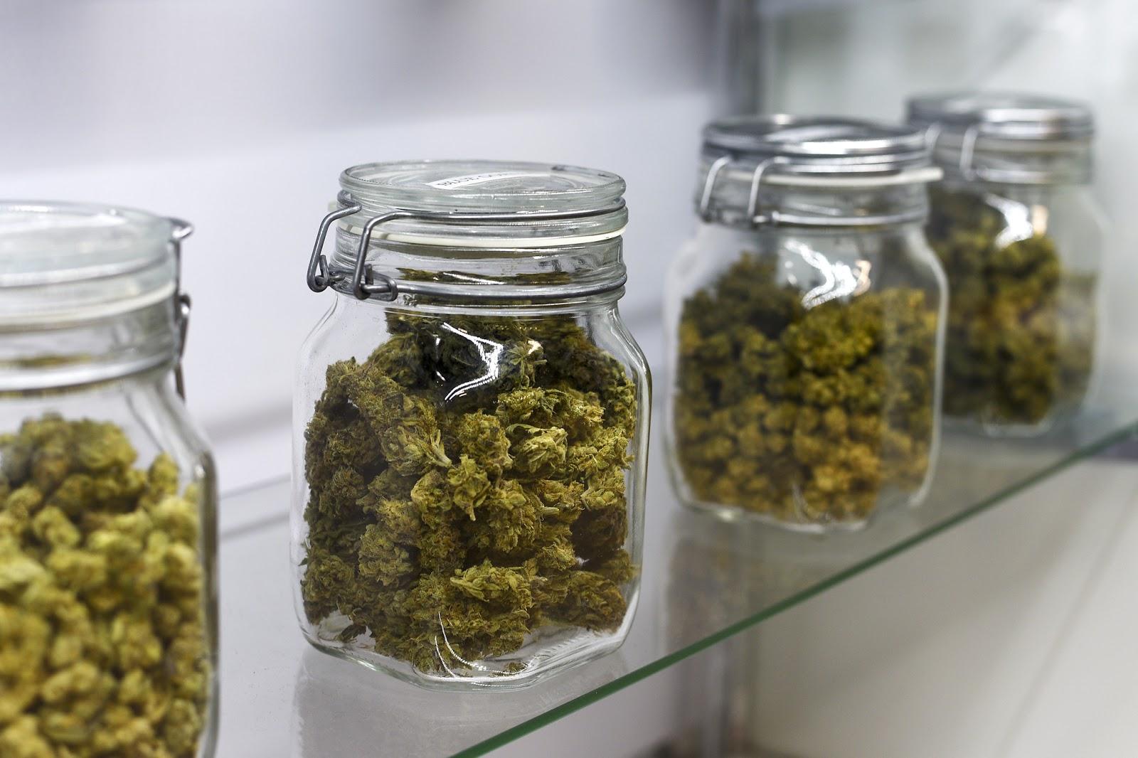 Marijuana, jars
