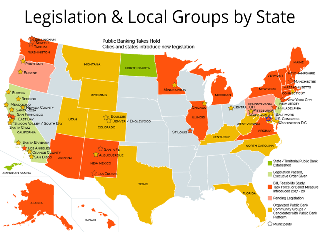 Public Banking, Public Banking Institute Map