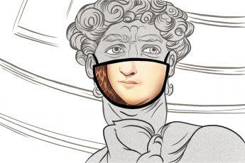 Michelangelo with Mona Lisa Mask
