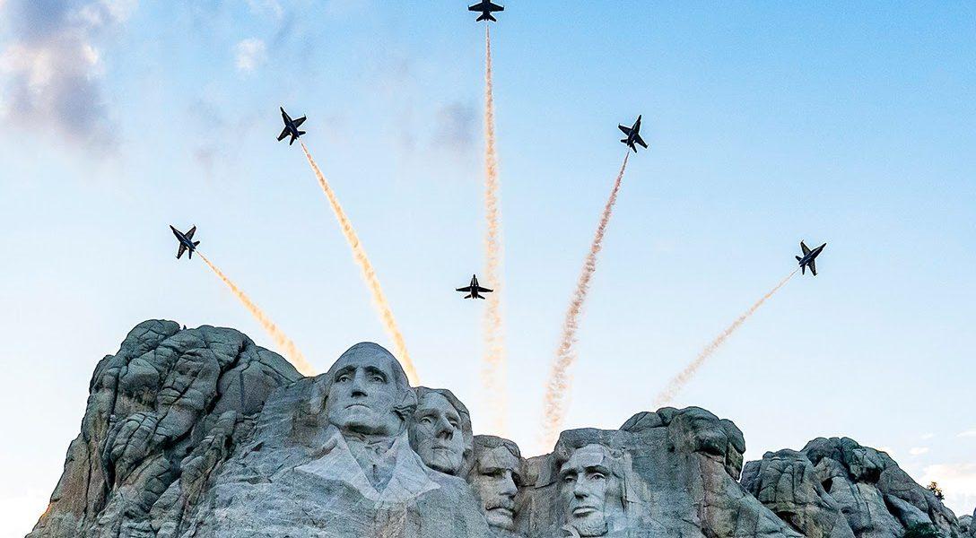 Donald Trump, Mount Rushmore, aerial review