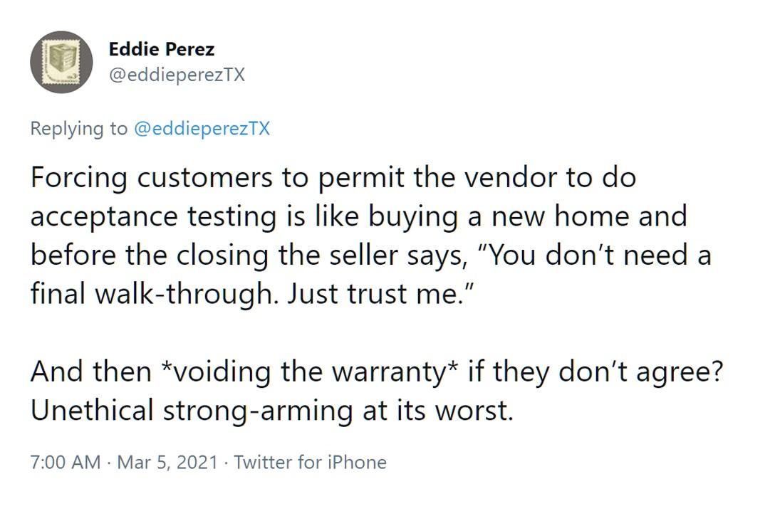 Eddie Perez Tweet