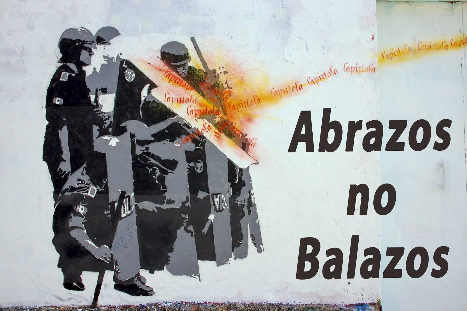 Graffiti, hugs not bullets