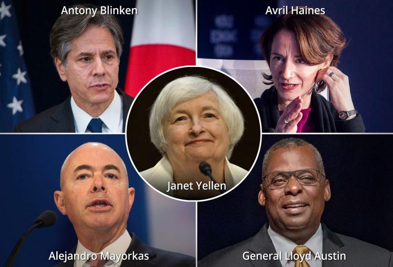 Lloyd Austin, Janet Yellen, Alejandro Mayorkas, Avril Haines, Antony Blinken