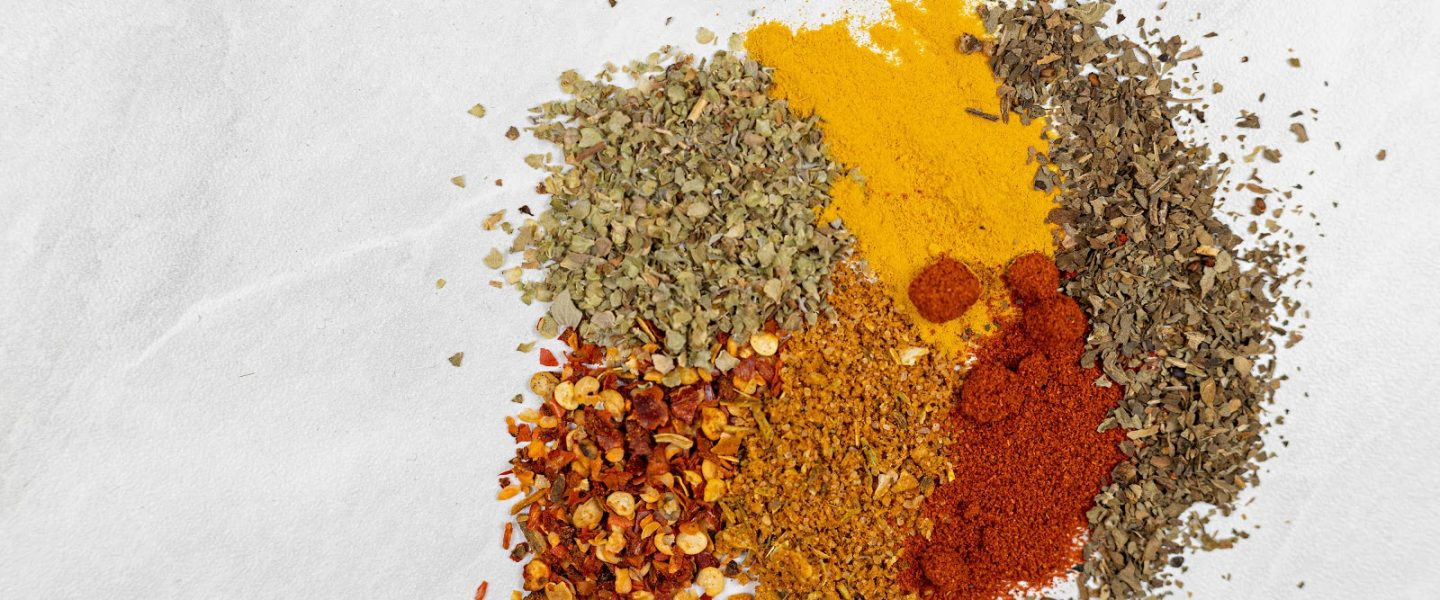 Top View of Kitchen Spices Mixed