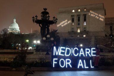 Medicare for All, light show