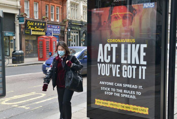 NHS covid-19 warning sign, London
