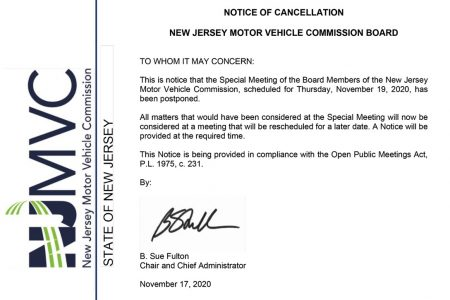 New Jersey MVC, meeting cancellation notice