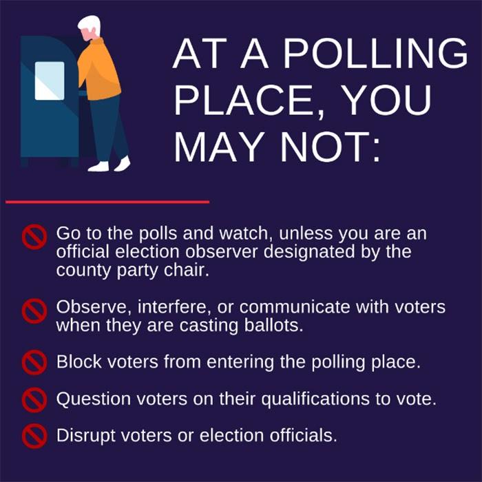 Polling place, warning