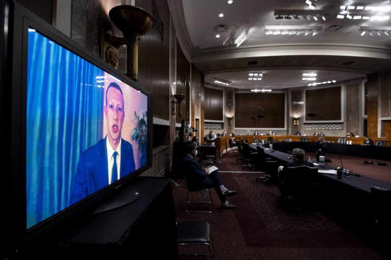 Mark Zuckerberg, CEO of Facebook, Testifies Remotely During a Senate Judiciary Committee Hearing on November 17, 2020