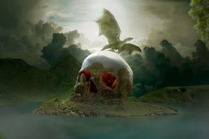 extinction, skull, humans, dinosaurs