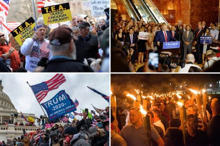 Clockwise from upper left: Tea Party, Donald Trump, Charlottesville, Capitol Riot