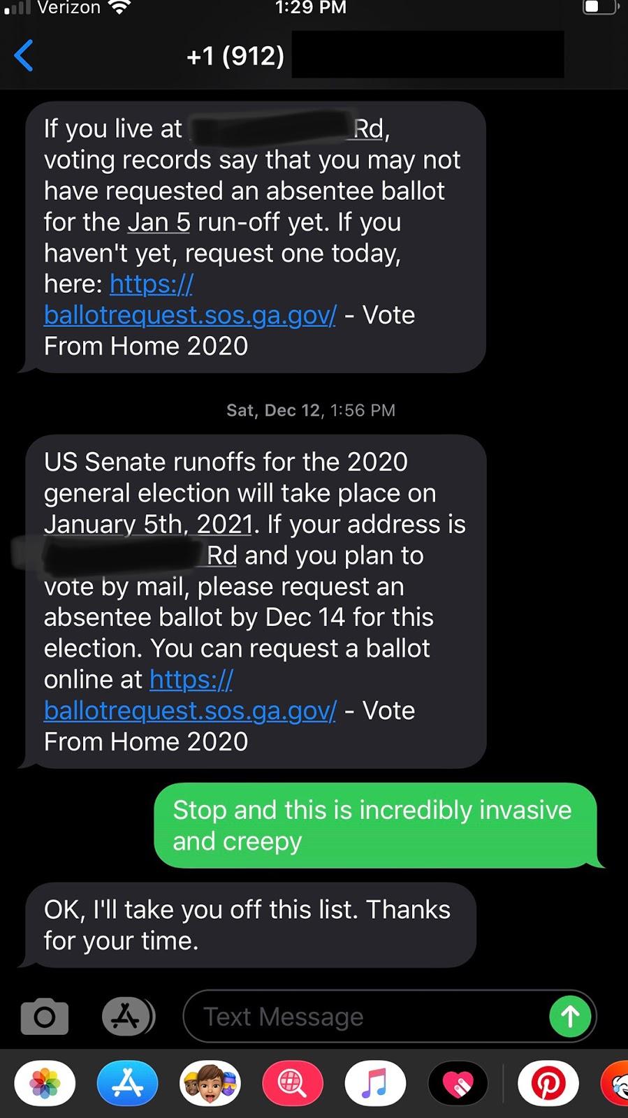 Georgia, text mess