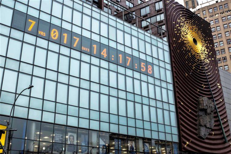 climate clock, Union Square, New York City, renewable energy, climate change