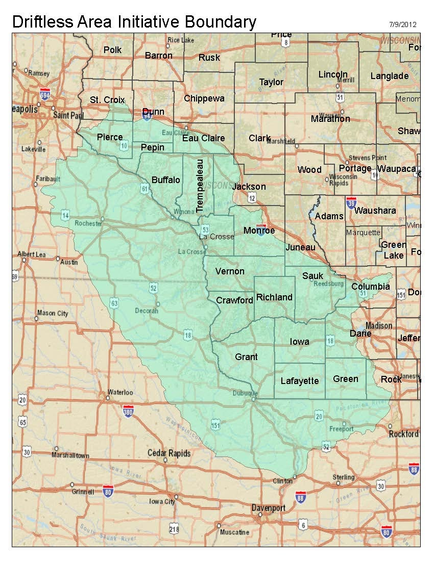 Crawford County, WI, where Bryan Stanley has proposed a national park, is in the center of the Driftless area, a 24,000-square-mile region covering parts of Illinois, Iowa, Minnesota, and Wisconsin.