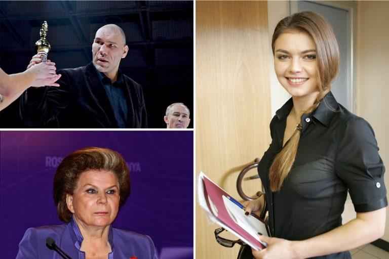 Nikolay Valuev, Valentina Tereshkova, Alina Kabaeva