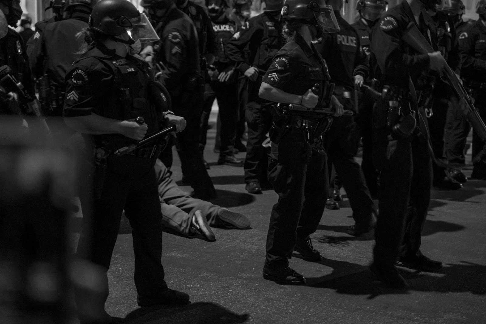 protester, dragged