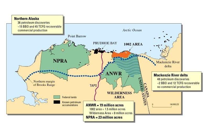 Location of the Arctic National Wildlife Refuge (ANWR)