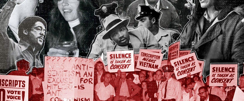 Martin Luther King, Tom Hayden, Jane Fonda, Bobby Seale, Cesar Chavez, Dennis Banks.