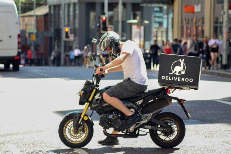 Deliveroo, motorbike, Manchester