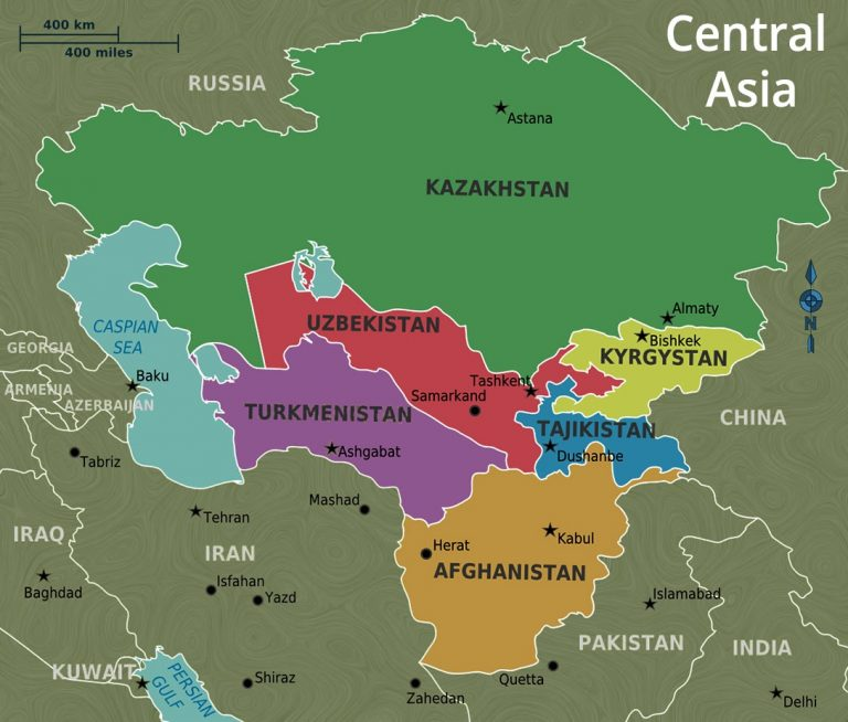 Central Asia, map