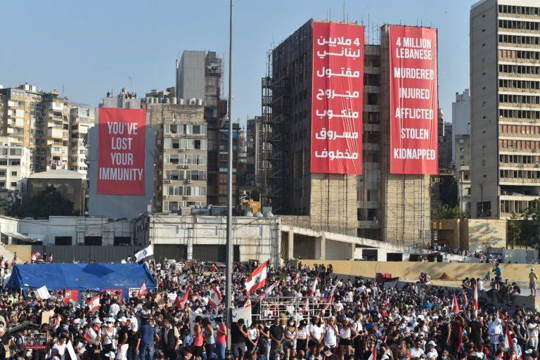 Banners, buildings, Beirut, Lebanon