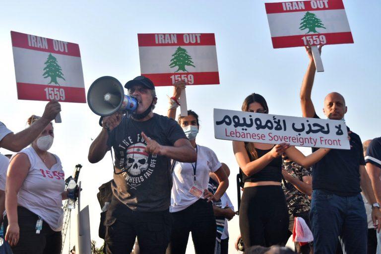 Demonstrators protest Iranian, Beirut, Lebanon