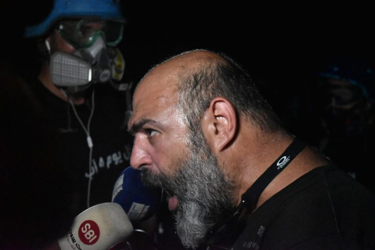 man confronts police, Beirut, Lebanon